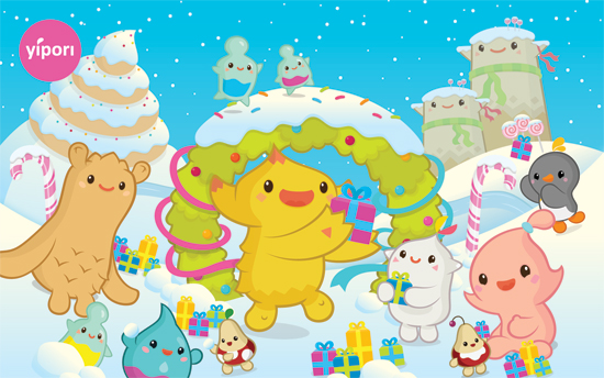 Sweet snow (Kawaii Christmas Wallpaper)