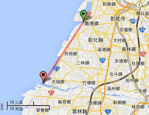 彰化海岸位置示意圖,圖片來源:Google地圖