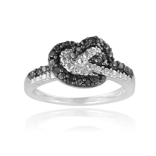 925er silber 1 10ct schwarzer diamant schwarz wei schleife liebesknoten ring ebay. Black Bedroom Furniture Sets. Home Design Ideas