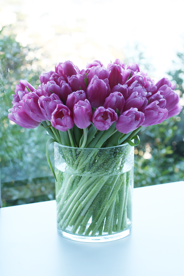 pink tulips flower arrangement