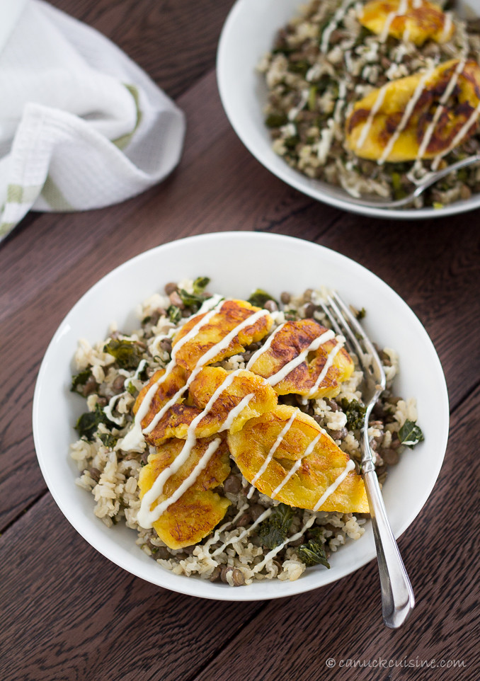 Fried Sweet Plantains with Lentils and Brown Rice @ CanuckCuisine.com
