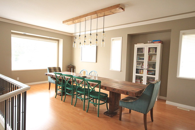 First Time Fancy Dining Room - DIY Dining Table & Light Fixture