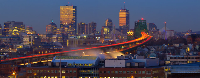 Tobin Bridge and Late Dawn Color Reflecting off Boston Skyline with Zakim Bridge, Chelsea MA
