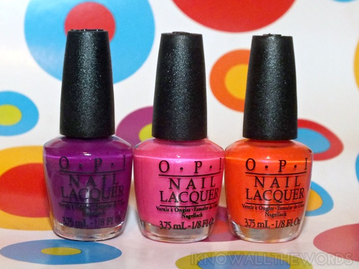 OPI Little Bits of Neon- Push & Pur-Pull, Hotter Than You Pink, and Down to the Core-Al