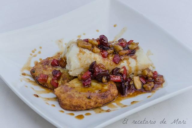 bacalao con vinagreta de frutos secos y miel