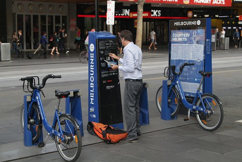 Businessman rents a Melbourne Bike Share bike