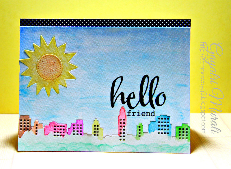Hello watercolour card