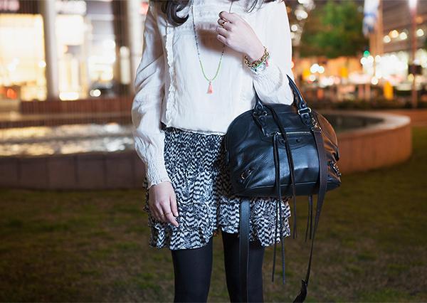 אייץ' אנד אם, isabel marant pour H&M, balenciaga bowling bag ,תיק בלנסיאגה, חצאית איזבל מאראנט