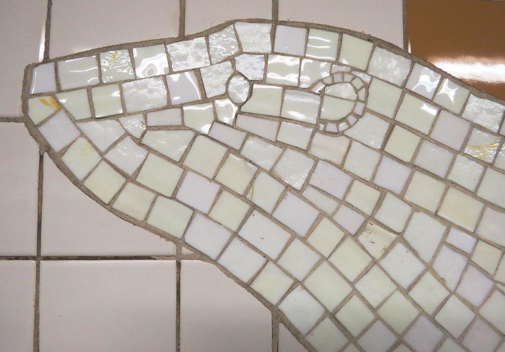 Polar bear mosaic in subway, 5th Avenue, Manhattan