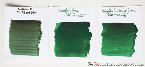 Diamine Evergreen vs Noodler's Green vs Noodler's Marine Green
