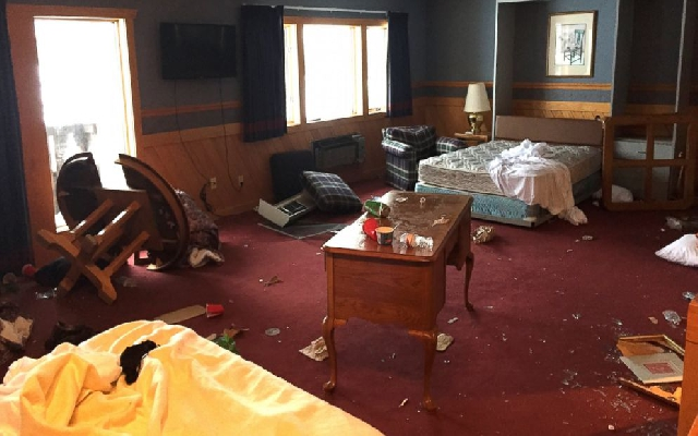 Trashed rooms at Treetops