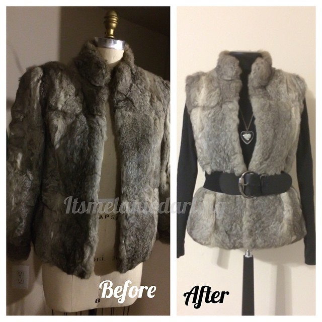 Transformation:  Rabbit Fur Jacket to Vest! Details on the blog, blog address in profile #Itsmelaniedarling #seamstress #sewing #sewist #sewcialist #sewingblogger #asewinglife #imakemyownclothes #imadethis #diy #diyer #diystyle #diyfashion #dressmaker #cu