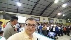 O secretário de Turismo e Desenvolvimento Econômico,Laplace Guedes participando da Audiência Pública Regional  do Orçamento Democrático do Estado, acontecendo agora em Patos no Ginásio de Esporte: '' O Gelão''