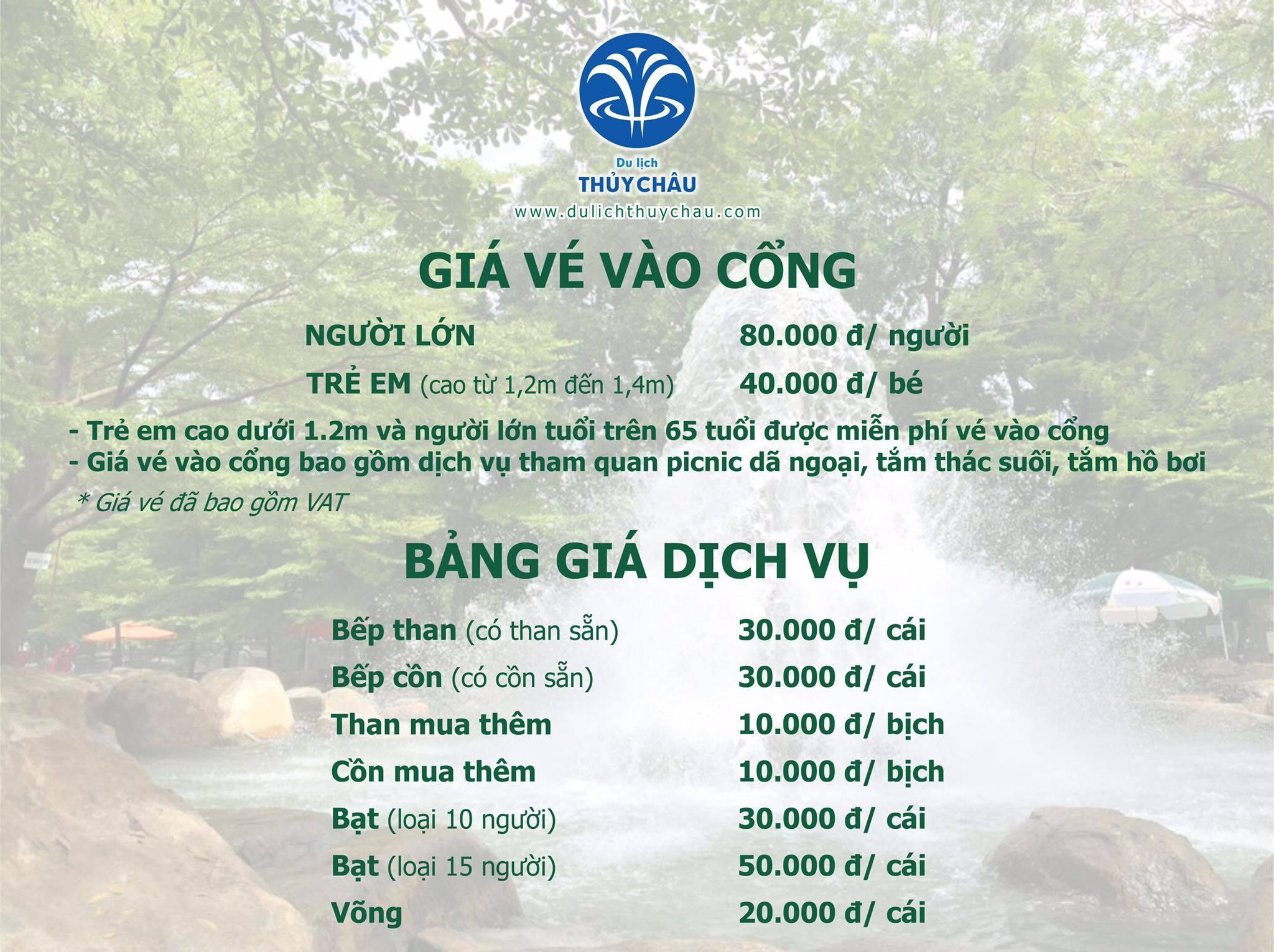 Giá dịch vụ tại Khu du lịch Thủy Châu