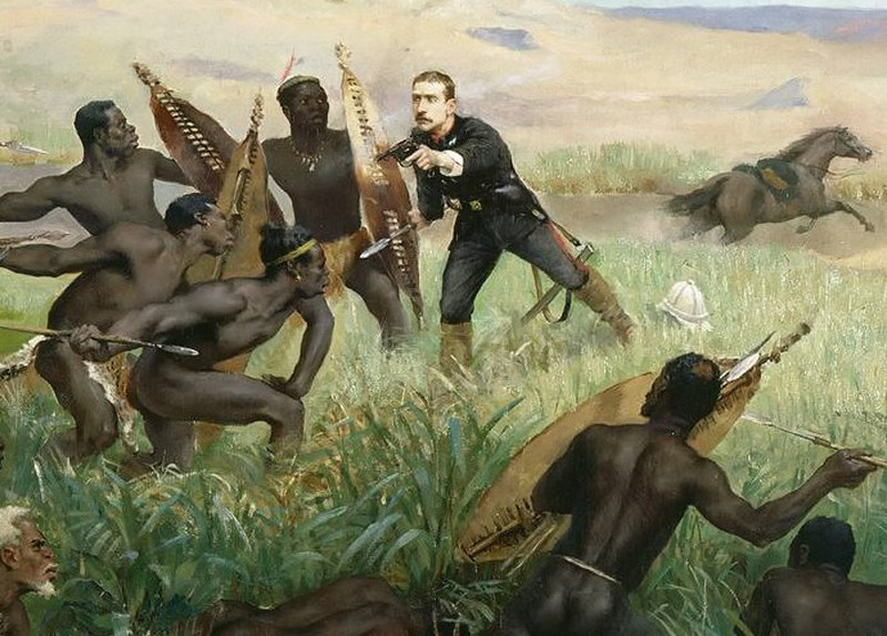 Death of the Prince impérial during the Anglo-Zulu War, detail of a painting by Paul Jamin
