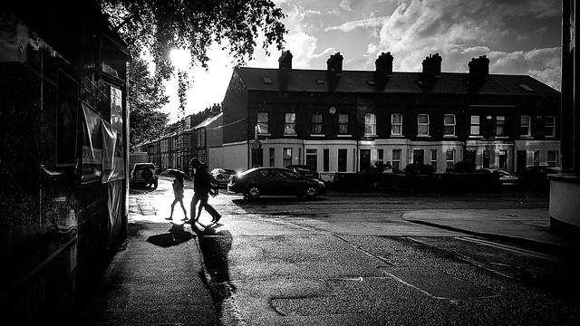 Under the rain - Dublin, Ireland - Black and white street photography