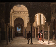 Joaquín Domínguez Bécquer, Ladies and Gentleman Visiting a Patio of the Alcázar of Seville, 1857