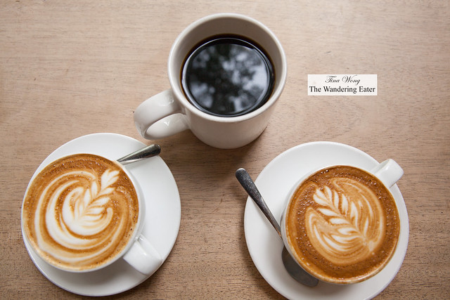 Drip coffee, latte and cappuccino