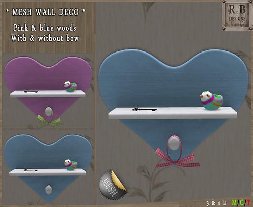 NEW ! *RnB* Mesh Wall Deco Hearts - Birds