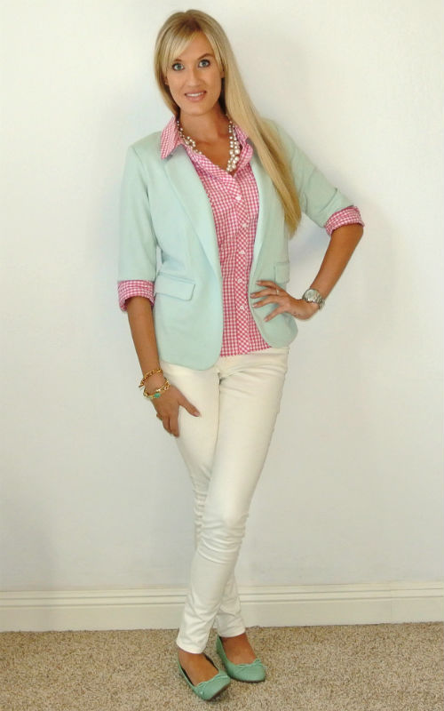 Outfit: pink gingham + mint 2