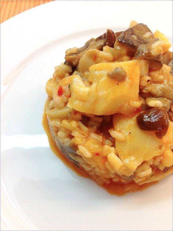 Las recetas de mis amigas arroz con bacalao y setas - Arroz con bacalao desmigado ...