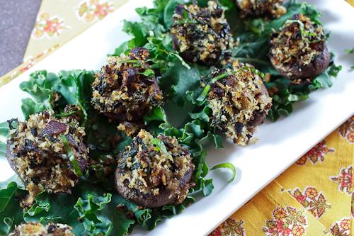 Mustard Glazed Bacon and Kale Stuffed Mushrooms
