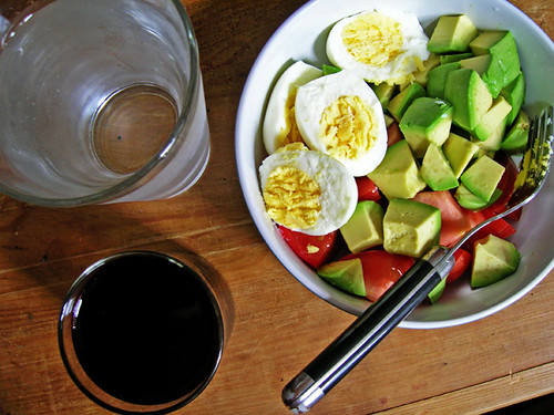 hardboiled eggs, avocado, tomato, lime, salt, water, beet juice