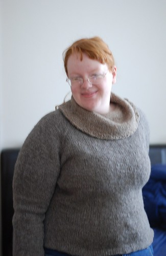 Handknit sweater spun on a drop spindle in natural grey and brown wools