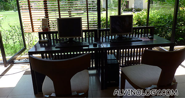 Computer terminal for internet access at the resort lobby