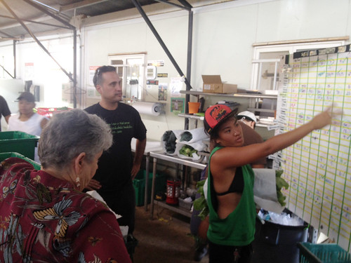 <p>MA'O Organic Farms Director of Social Enterprise Kamuela Enos and UH President M.R.C. Greenwood listen as Michelle Arasato explains how ordering and tracking work at the farm.</p>