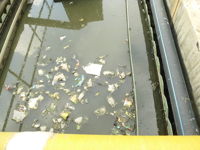 plastic trash in the treatment channels