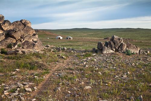 travel clouds landscape rocks desert adventure mongolia gobi province ger dundgovi