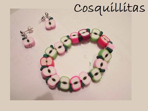 Pulsera y pendientes infantiles de manzanas by _cosquillitas_