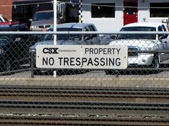 """CSX """"No Trespassing"""" sign"""