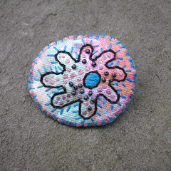 Pink and Blue Microorganism Brooch