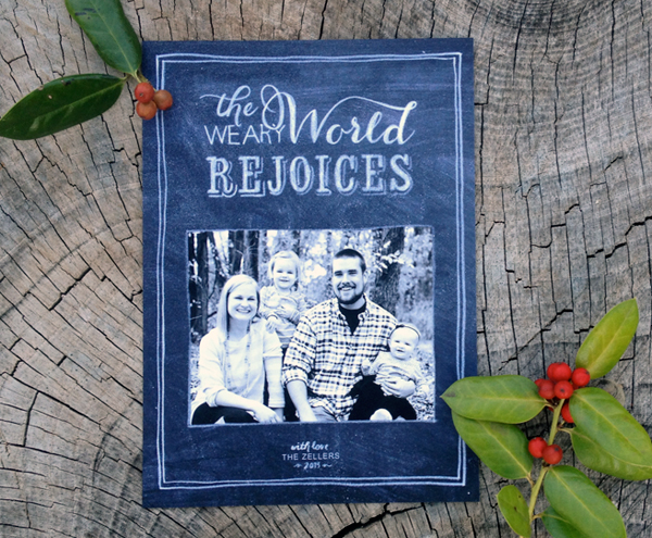 the weary world rejoices - chalk style christmas card