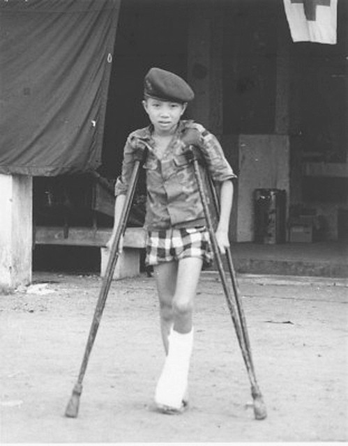 va002853 Young Heroes of VN; Ta Thai Manh, 13, volunteer soldier with South Vietnam's elite Rangers,