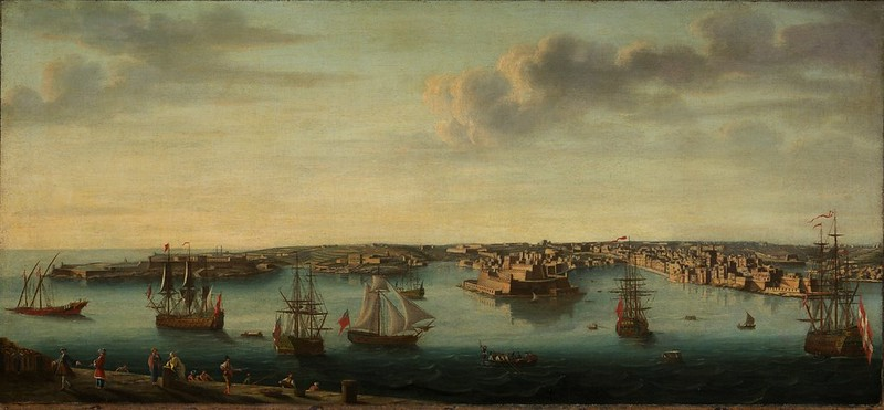 Gaspar Adriaansz van Wittel - Shipping in Grand Harbour, Valletta, Malta (c.1750)