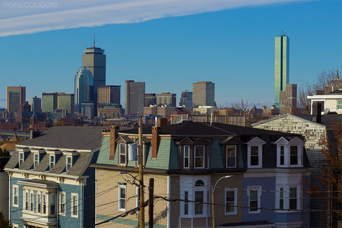 Back Bay Boston Skyline with Prudential and Hancock Tower, Dorchester Heights South Boston by Greg DuBois Photography