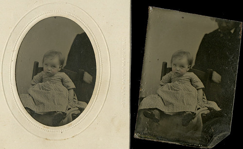 Tintype of Suspicious Baby In and Out of the Mat
