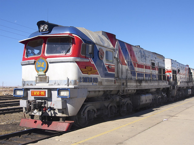 Uno de los trenes que realiza el recorrido del Transmongoliano a su paso por Mongolia