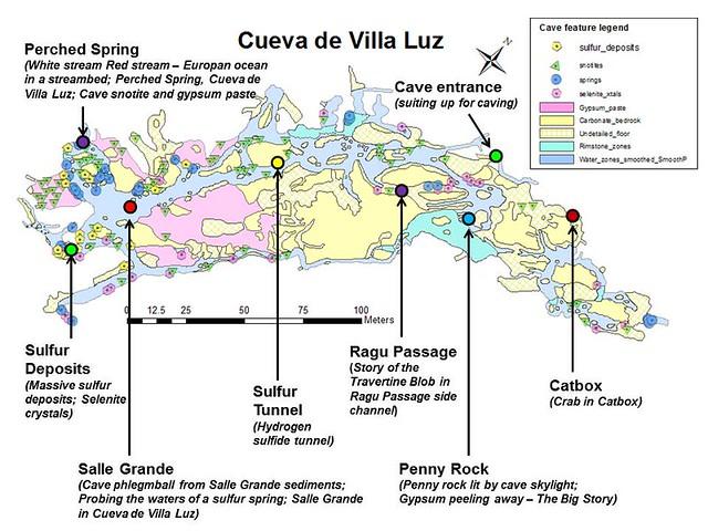 Map of Cueva de Villa Luz showing image locations
