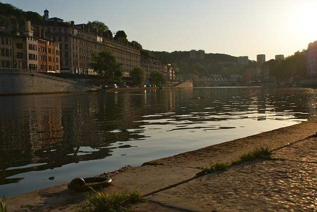 Quai de Saône à Lyon à la fin de l'été