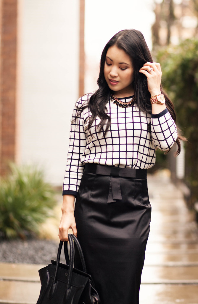 cute & little blog | windowpane grid sweater, black bow pencil skirt, capped toe heels outfit