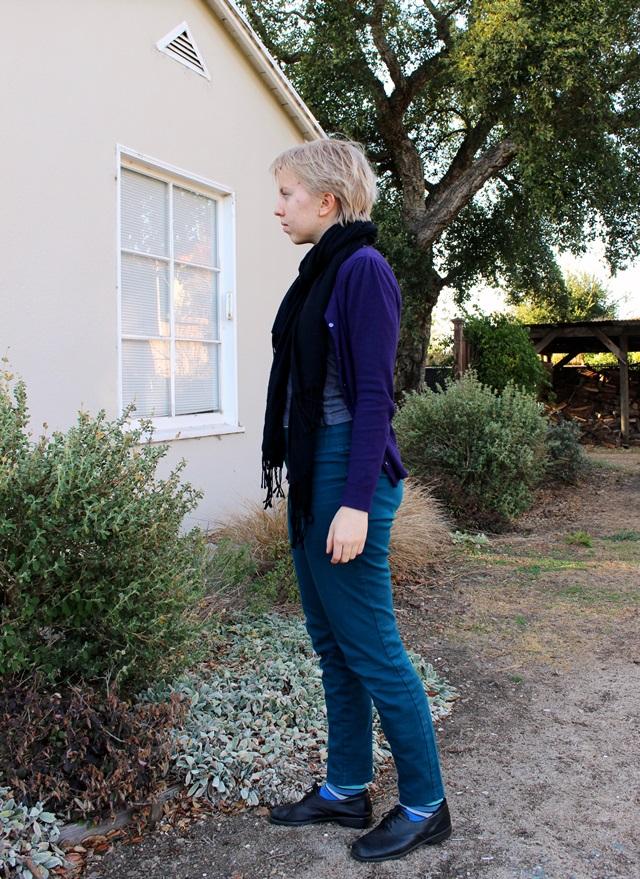 black pashmina scarf, eggplant purple cardigan, teal skinny jeans