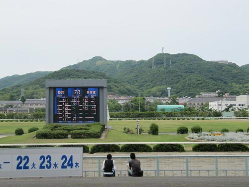 姫路競馬場の走路を眺める若者たち