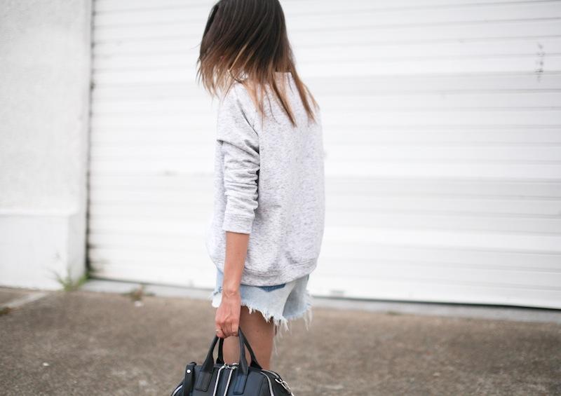 modern legacy fashion blogger Australia street style one teaspoon cutoff denim shorts heather grey sweatshirt suede ankle boots alexander wang jamie chastity bag  (10 of 10)