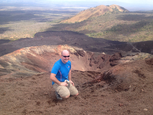 Atop Cerro Negro in Nicaragua, before I suited up to go volcanoboarding