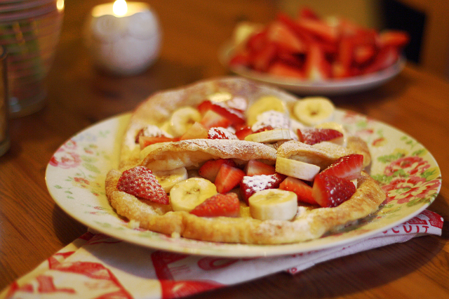 pancake day, strawberry and banana pancakes, rose and whimsy