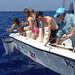<p>The best oceanography classroom in the world! Students from Hawaii Community College West Hawaii taking water samples three miles off the coast of Kona. It's a new class offered by the college and the program is partnership with Kona Community Cultural and Education Foundation.</p>